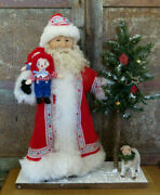 Primitive Santa Claus Doll On Sled W Toys Susan Kay Original One Of A Kind