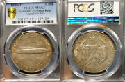 Germany 1930 D 5 Marks Zeppelin Pcgs 63 Original High Grade Low 56000 Minted