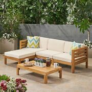Corner Sectional Sofa Table Set W Cushions Outdoor Patio Garden Wooden Furniture