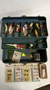 Vintage Union Steel Chest Tackle Box W/ Tackle, Poppers, Flies And More