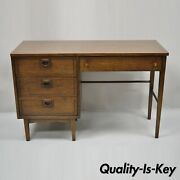 Stanley Mid Century Modern Walnut And Formica Writing Kneehole Work Table Desk