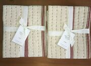 Pottery Barn Nellie Pickstitch Tassel Set Of 2 Standard Shams Red And Natural New