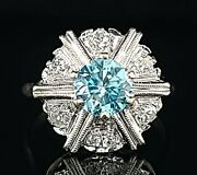 Vintage 14k White Gold Ring 1.25ct.natural Blue Zircon Round Shape Circ 1950and039s