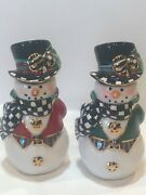 Mackenzie Childs The Hat Snowman Salt And Pepper Shakers Christmas