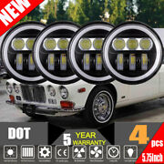 4x 5.75inch Led Projector Headlight Angle Eyes Drl Fit For Jaguar Xj6 1972-1989