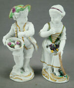 Pair Of Marcolini Meissen Hand Painted Bisque Male And Female Figurines 1774-1814