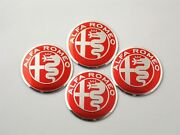 Alfa Romeo Red 4pcs 50mm Car Tire Wheel Center Caps Decal Stickers Emblems