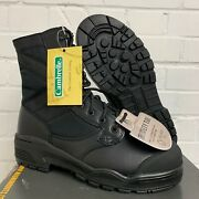 Magnum Army Black Leather Hot Weather Steel Toe Cap Safety Boots - 5 Large , New