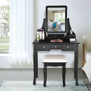 Vanity Table Set With Lighted Mirror Makeup Dressing Table With 5 Drawerandmirror