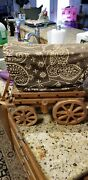 Vintage Wooden Western Covered Wagon Stagecoach Night Light Lamp Works