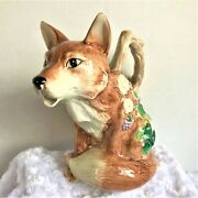 Fitz And Floyd 'the Happy Fox' Water Pitcher 1 1/4 Qt Retired Woodland Collection