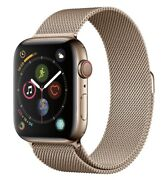 Apple Watch Series 4 44 Mm Gold Stainless Steel Case With Gold Milanese Loop