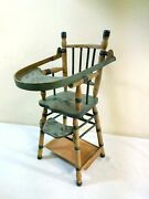 Antique Paint Decorated Child's Toy, Doll Folding High Chair Ca.1900
