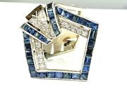 Antique Diamond And Sapphire Platinum/18kw Gold Dress Clip/brooch Apx.2.80 Carats