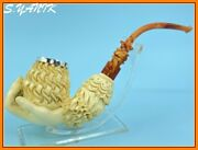 S.yanik Meerschaum Pipe Special Carving Hand On Basket Silver 925 Cap Fit Case