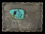 Signed 1980s Rom Navajo Old Pawn Sterling Silver Royston Turquoise Belt Buckle