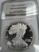 2005 W Pf69 Ultra Cameo, American Silver Eagle, Ngc Brown Label, Free Shipping