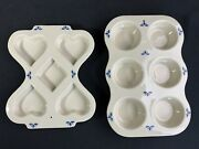 Set Of 2 Roseville Ohio Friendship Pottery Blue Flowers Muffin Or Scone Pans