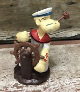 """Popeye The Sailor Man At The Ship Wheel 5"""" Tall Cast Iron Statue"""