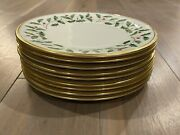 Lenox Holiday Dishes Set Of 9 Salad Plates Collection Gold Trim