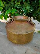 Vintage Brass Pitcher Pot Hand Crafted Big Water Pot With Handle Old Home Decor