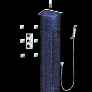 Thermostatic 16 Shower Faucet System With Massage 6 Body Sprays Jets In Chrome