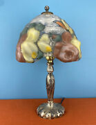 Genuine Antique 1900s Pairpoint Puffy Glass Shade And Silvered Metal Boudoir Lamp