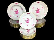 Herend Chinese Flowers Raspberry Pattern Fcp Set Of Plate 3 X 8 Pcs.