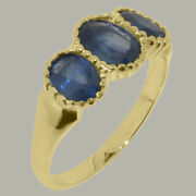 18k Yellow Gold Natural Sapphire Womens Trilogy Ring
