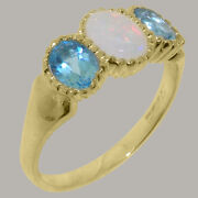 14k Yellow Gold Natural Opal And Blue Topaz Womens Trilogy Ring