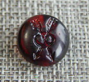 Antique Vtg Red Glass Button With Arrows Aprx5/8005-a