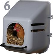 6 Pack Of Large Wall Mount Egg Nesting Nest Box With Perch Chicken Coop Poultry