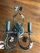 Pair Electric Wall Sconces Verdigris Metal Leaf Green Classic Lighting Corp