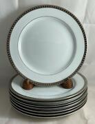 Set Of 8 Bernardaud Athena Platinum Salad Plates Excellent Condition Free Ship