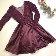 My Michelle Plum Purple Sequin Satin Prom Dress Ball Gown Teen Size 9 N