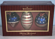 Waterford Holiday Hair Looms Christmas Ornaments Flag Set Of Three