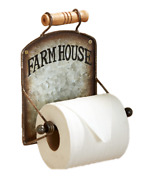 Rustic Wall Toilet Paper Holder Distressed Metal Wood Ceramic Accents Farmhouse
