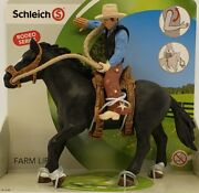 New Schleich Saddle Horse/bronc Rider With Cowboy 41416rodeo Seriesfarm Life