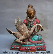 9.2and039and039 Ancien Tibet Bronze Turquoise Gemme Daibosatsu Guanyin Goose Statue