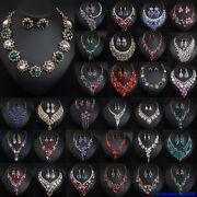 Bridal Crystal Jewelry Set Necklace Earring Statement Choker Bibs Wedding Party