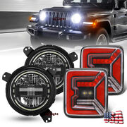 For Jeep Wrangler 2018-21 Tail Lamp And 7 Round Led Halo Headlight W/ Bracket Kit