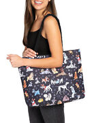 Disney Dogs Travel Rope Tote Bag Carry-on Paw Prints 101 Dalmatians Black
