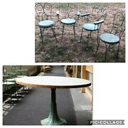 4 Vintage Ice Cream Parlor Chairs And Table Set Green Paint Twisted Iron Metal 19t