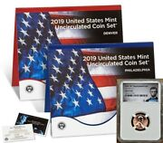 2019 Uncirculated Coin Set W/ First W Lincoln Cent - Ngc Ms69rd Lincoln Label