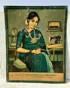 Vintage Old Rare Luxmi Sewing Machines Radios Fan Advertise Litho Tin Sign Board