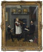 Antique Painting Oil Canvasthe Violin Lesson Signed T. Holroyd 18-1900and039s