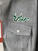 New Usf Women's Cutter And Buck Charcoal Gray Long Sleeve Oxford Shirt L Nwt