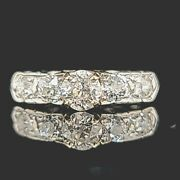 1.40ct. Vintage 14k White Gold Five Stone Ring Natural Old Mine Cut Diamond Si1