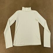Madewell Women's Size Small Antique Cream Ribbed Long Sleeve Turtleneck Flaw