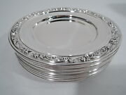 Gorham Rose Scroll Plates - 1234 - 12 Bread Butter - American Sterling Silver